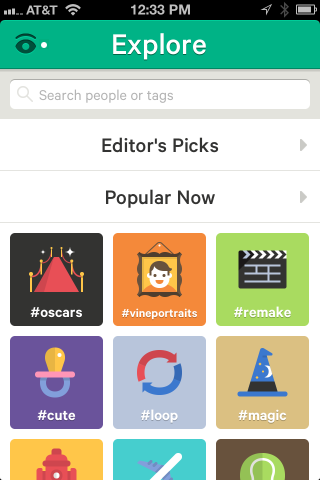 Like Twitter, Vine uses #Hashtags as a way to find things and connect to stuff